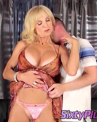 Blonde Granny Hates Her Big Tits Sucked