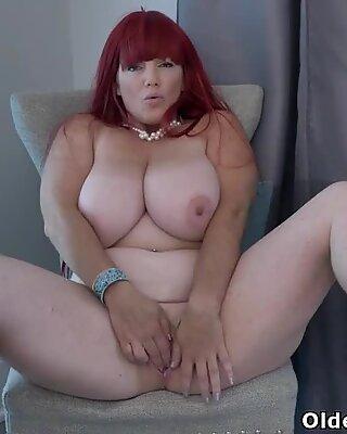 Redhead BBW milf Roxee Robinson does a slow striptease