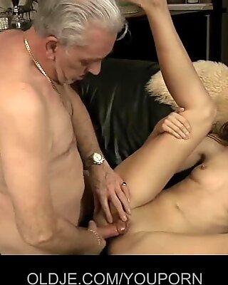 Senior David fucks Mika's young asshole