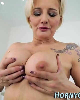 Stockings granny blowing
