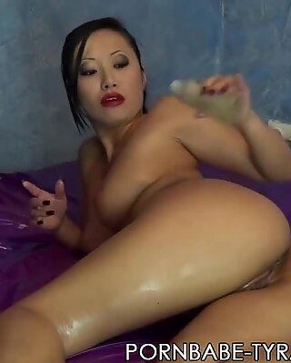 super-hot asian PornbabeTyra lubes herself and german dirty talk