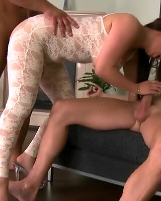 Bootylicious and horny Asian bitch gets banged by two stiff and hot tools