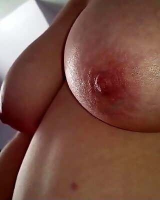hand job,cumshot, hanging tits, hairy pussy wife