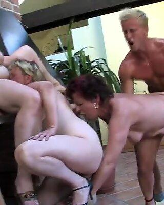 Crazy group sex mature moms fuck young boy