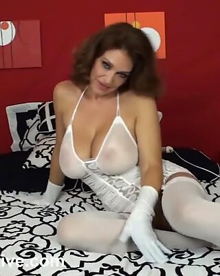 Big tit MILF Charlee Chase gets fucked in her white gloves