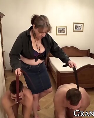 Old granny tied up two jocks for pussy licking 3way