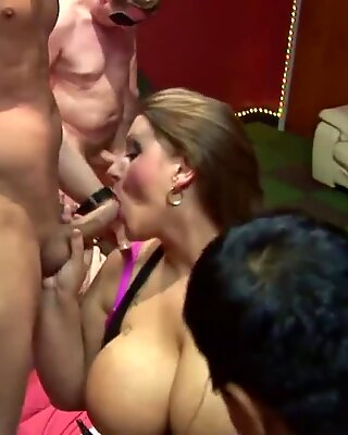 Cumming over large natural breasted and small tits chicks