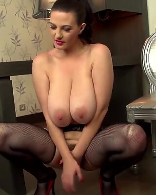 Posh mother with hairy pussy and big tits