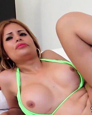 Latina bikini tgirl pounded after giving head