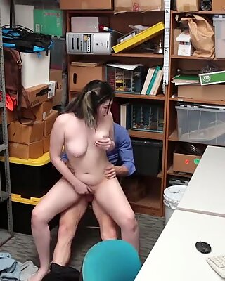Teen shoplifter busted and fucked by a mall cops fat cock