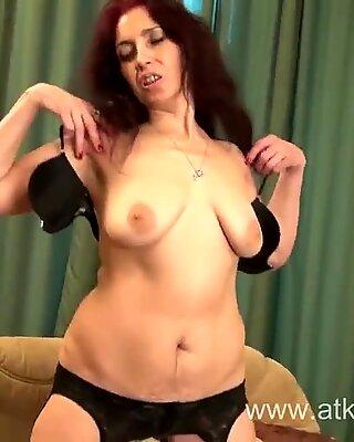 Sexy Milf Karolina masturbates wearing black stockings
