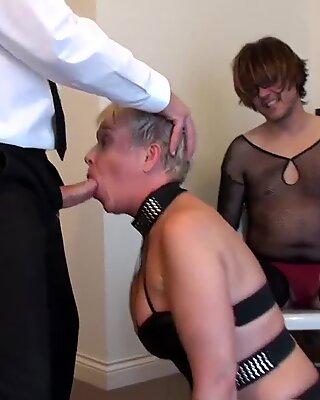 Chubby milf with a short hair receives a BDSM treatment