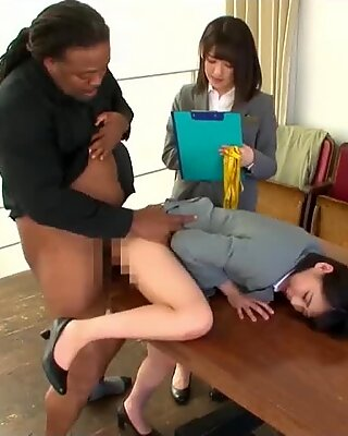 Jav Idol Yua Nanami tears up black stud In Cloths Store On Table Excellent
