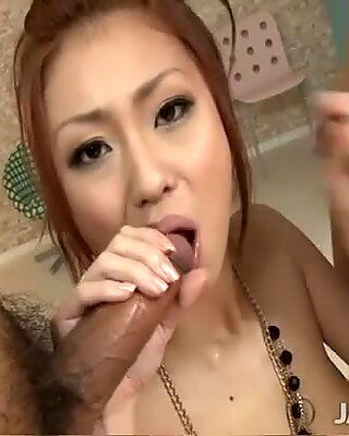 Japanese Saki Kozakura is fucked in doggy and 69 style at the same time