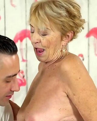 Blonde granny cant resist a big hard cock