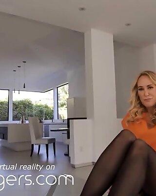 VR BANGERS, Unexpected Anniversary Footjob From Brandi Love