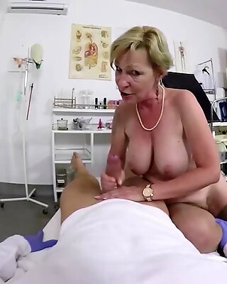 big boob hairy bush grandma gets rough pov fingered and fucked by her doctor