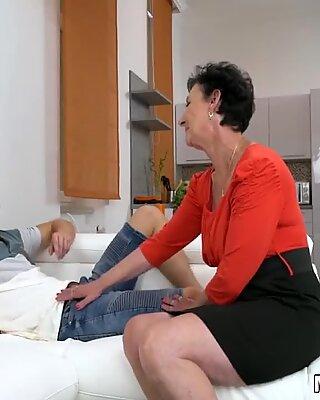 Granny house maid swallows a face treatment cumshot