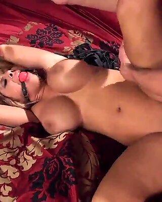 Huge boobs MILF fucked in bondage