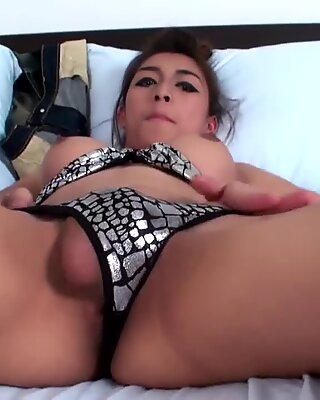 Bigtitted ladyboy teases her nicely shaved ass and tiny cock