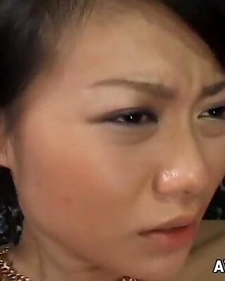 Zealous oil covered nympho from Japan rides a stiff small cock