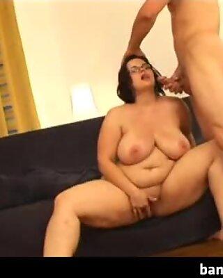 Chubby babe fucked between her big boobs