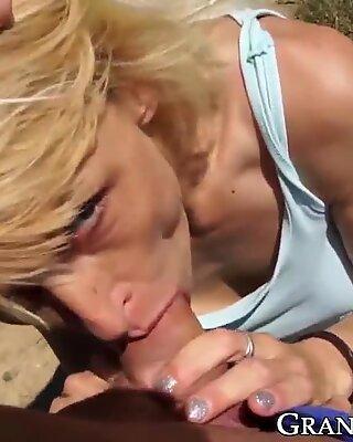 Hottest grandma sucking dick before outdoor POV banging