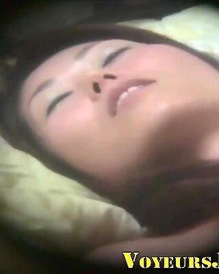 Horny japanese teen rubs