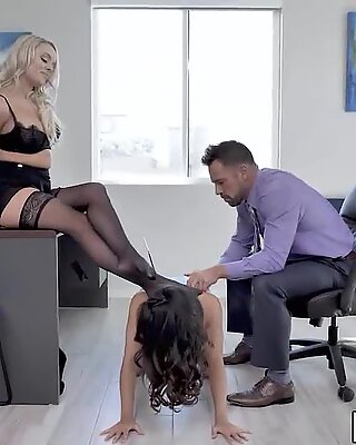 Adrian Hush is so much capable being a sex marionette of freak bosses Alexis and Johny