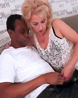 Lusty granny luvs dark-hued cock
